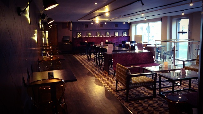 The chic, contemporary bar/dining area on Curzon Cinema Ripon.