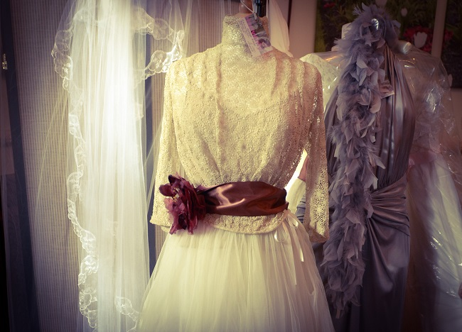 There are beautiful vintage wedding gowns from a variety of decades.