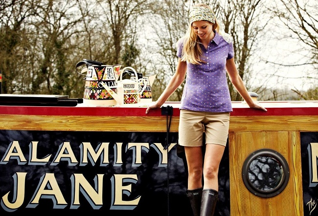 Model aboard the Calamity Jane wearing T-shirt, £24.95, from Julie's British Waterways collection for Barbour.