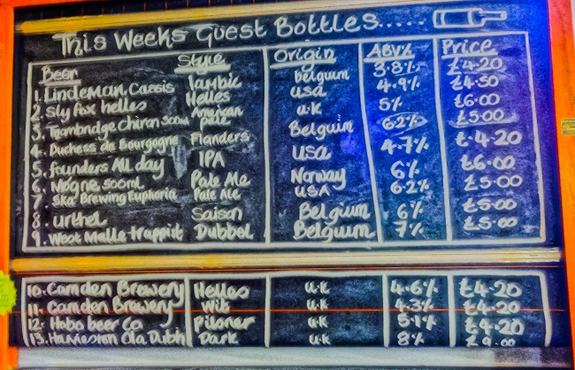 Here's the beer and win list on the February 2014 day I visited for lunch.