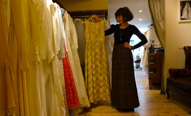 Hayley with a 1960s gown in her Glory Days Vintage shop in York. She will take part in the Festival of Vintage.