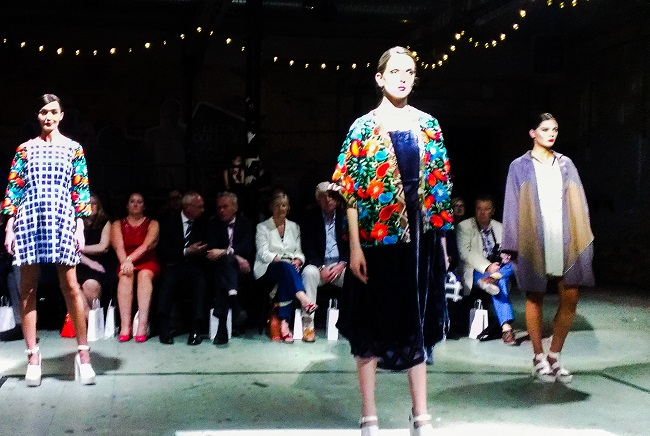 The work of Ellen Harker on the Canal Mills catwalk.