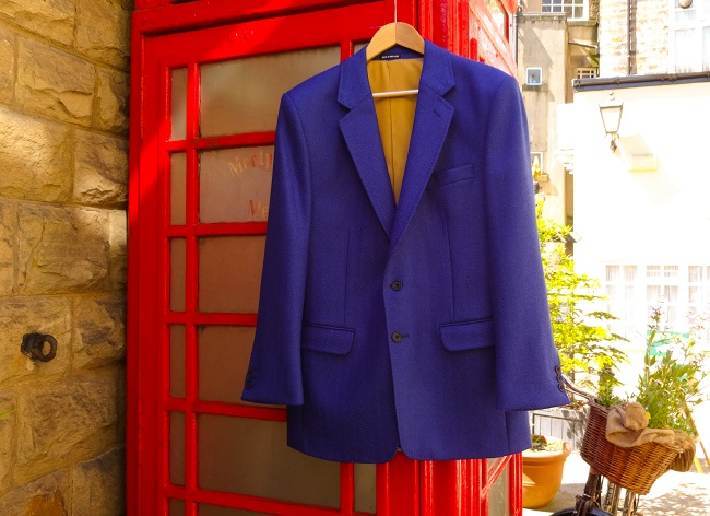 The famous blue jacket in the Tour de Fleece fabric, which has been made travelling just 40 miles from sheep to finished garment. If you fancy one, it can be ordered through Susan Gaunt Boutique.