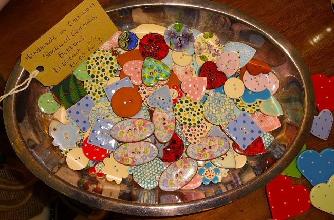 Hand-made buttons at Susan Gaunt Boutique.