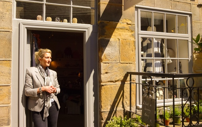 Susan Gaunt outside her boutique in Montpellier Mews in Harrogate.