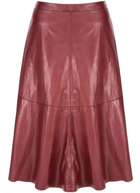 Berry faux leather midi skirt £38 at Next
