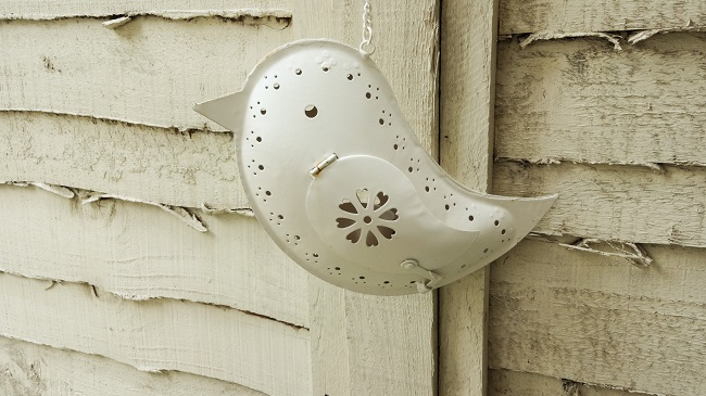 Bird hanging tealight cost £10.99 at the Little Light Company at Crimple Hall.