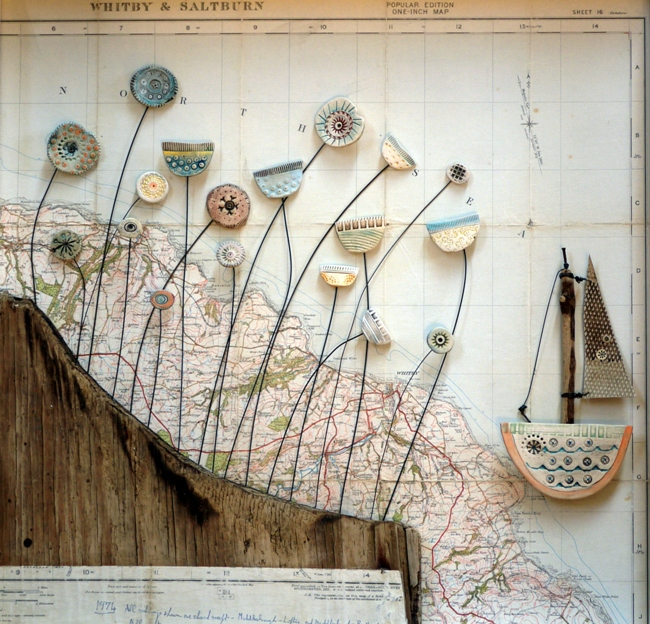 Shirley's work includes driftwood and other beach finds