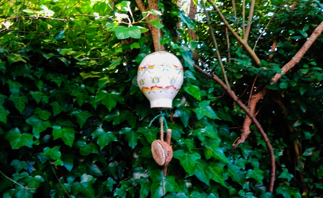 My ceramic hot air balloon and its meal worm passenger.