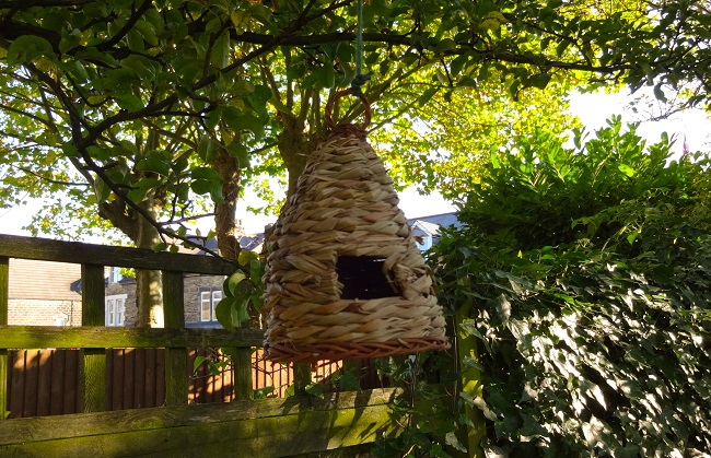 This woven bird house/feeder costs £6 at Homebase.