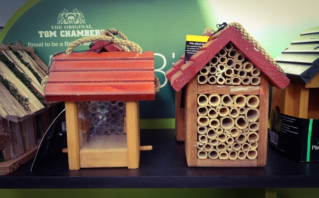 Bird house and bee house, bith available at Crimple Hall Garden Centre in Harrogate.