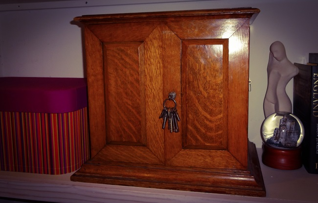 The smoking cabinet, found in a a Deco sideboard in the dining room.