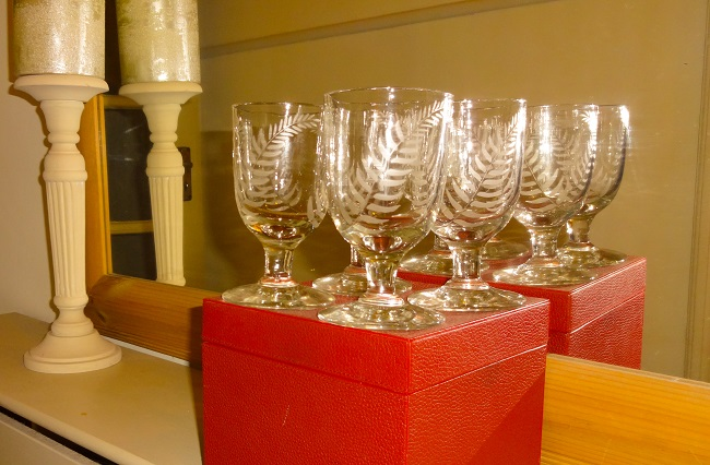 From Ella's Attic - Four beautiful wine glassed etched with ferns. I gather ferns are a traditional Scottish glassware decoration.