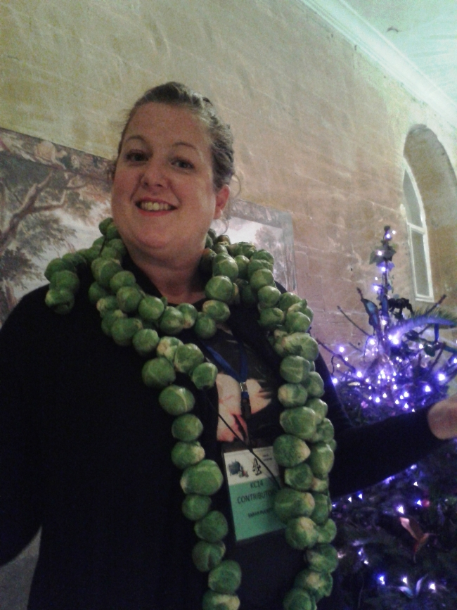 Sarah wearing her sprout garland
