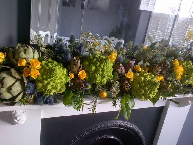 Sarah's edible garland on the mantlepiece at home