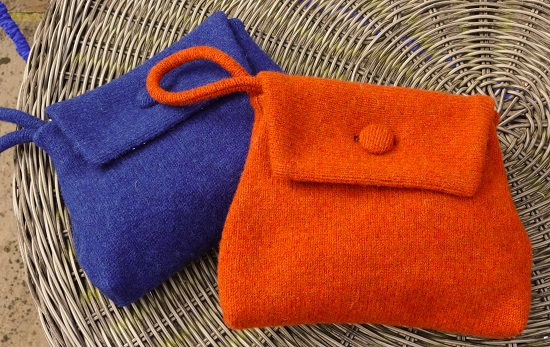 These gorgeous little knitted clutch bags cost £25 and come in a range of colours from Umpie.