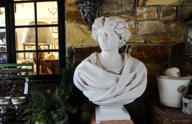 Welcome - this classical style bust is in the passageway outside Home & Garden in Montpellier Mews in Harrogate.