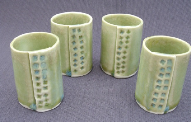 These lovely shot vessels by Margaret Glackin cost £30 for the set.
