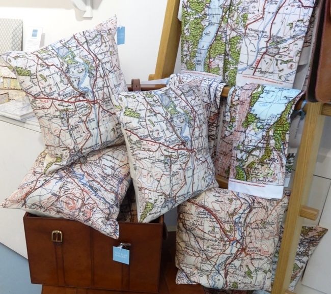 Ordnance Survey map tea towels and cushions