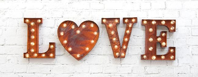 Letters and heart lights from Susan Gaunt