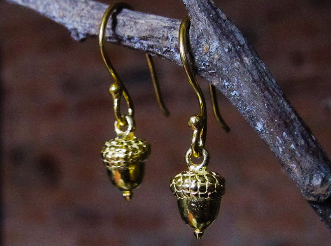 Collard Manson gold plated acorn earrings, £18, from Collard Manson, Devonshire Street in Sheffield.