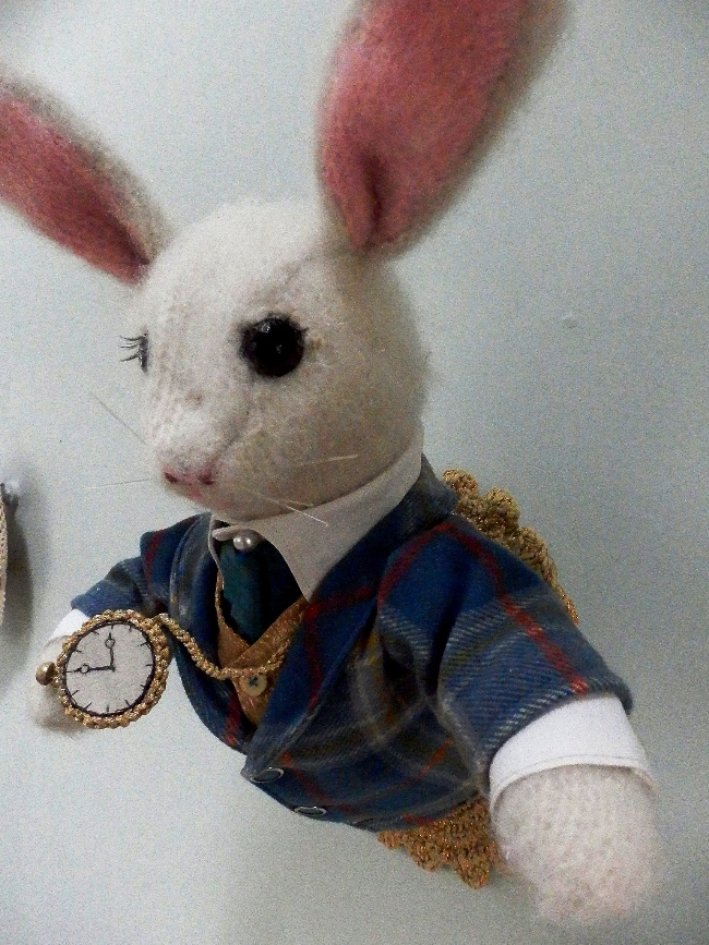 White rabbit by textile artist Corinne Young