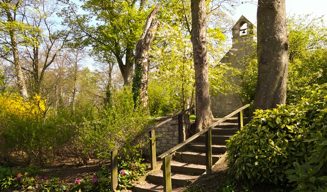 Steps leading up to the chapel in the lovely grounds of Lotherton Hall.
