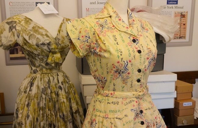 Stunning prints still looking so fresh on the 1950s dresses that feature in Lotherton Hall's Age  of Glamour exhibition.