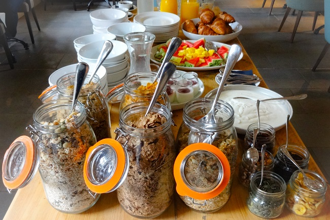 The breakfast spread in the Coach House Restaurant.
