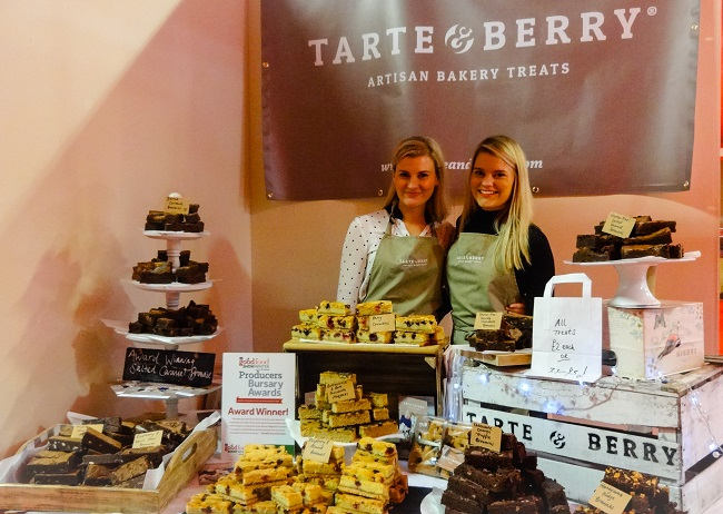 The lovely Tarte & Berry sisters in the food hall, with their heavenly bakes.