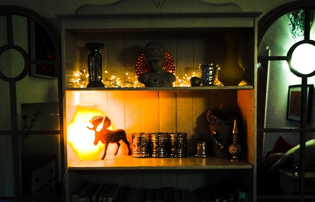 The Paul Smith reindeer on the dining room shelves.