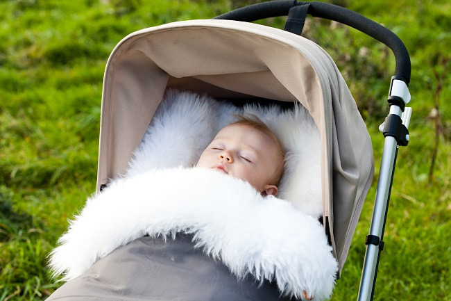 As well as the nursing rugs, Westmorland Sheepskins do these cosy pram and buggy sleeping bags for babies.