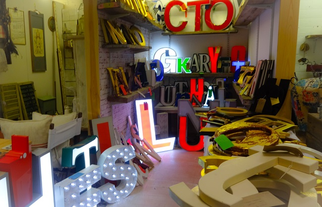 Love this shop-within-a-shop with its decorative and illuminated letters.