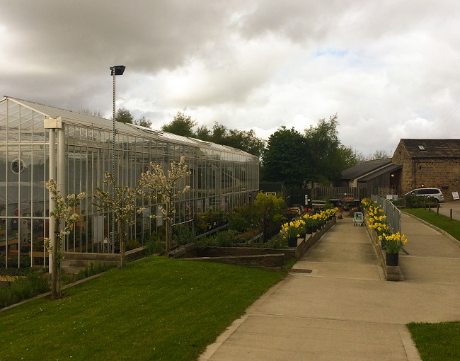 Caring for Life's garden centre on the left and the path to the farm and the barns.
