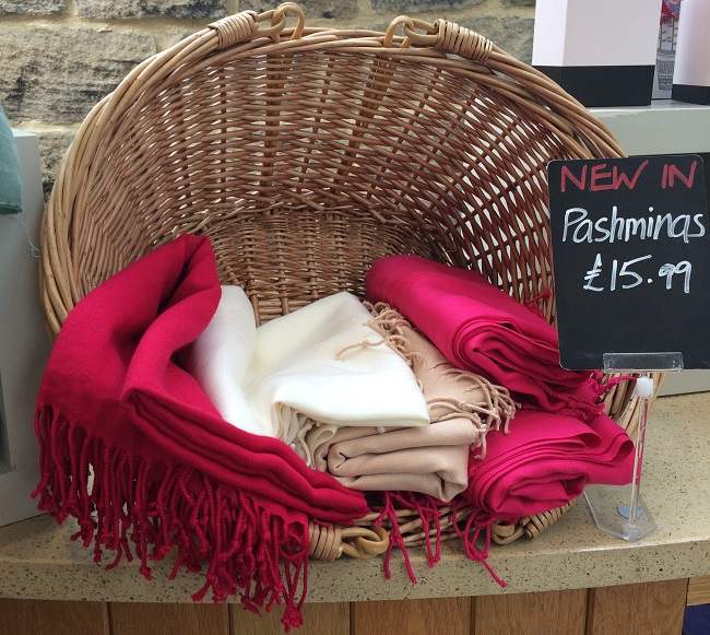 These pashminas are a bargain, and the shop has gifts, produce, kitchen stuff and loads more.