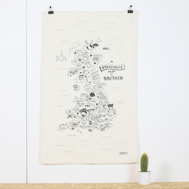 Delicious map of Britain tea towel £9.50