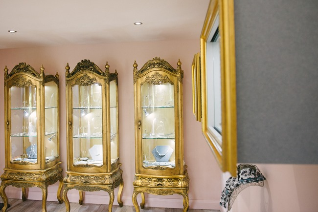 We love these gold cabinets in the Heart Gallery - filled with everything we love!