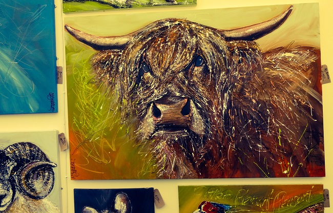 A huge bull painting by McSpoff-Art by Sarah Spofforth-McQuat.