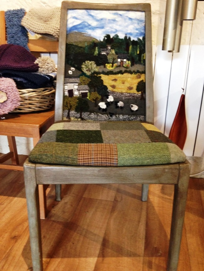 This chair is a work of art and is made by a textile artist. She doesn't do many of them so it is also a rarity. It costs £375 - just think of all the work that went into this.