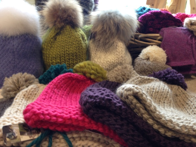 Hand knitted bobble hats - perfect for the season of mists and mellow fruitfulness