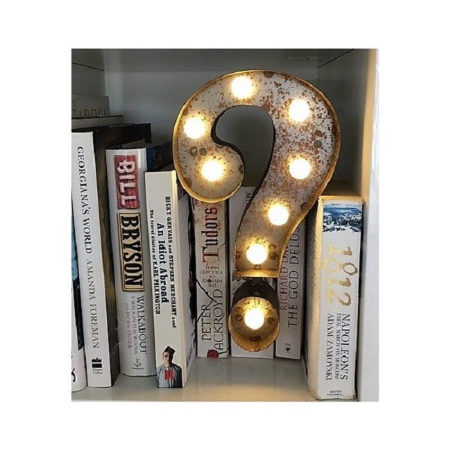 Question Mark Marquee Light, £34.99 at the Little Light Company on www.thelittlelightcompany.co.uk